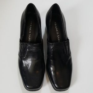 Franco Sarto Black Block Heel Loafers 6